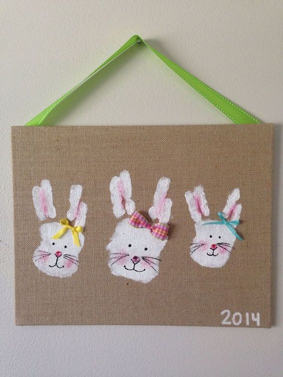 Art&craft de Paște - tablou iepurași