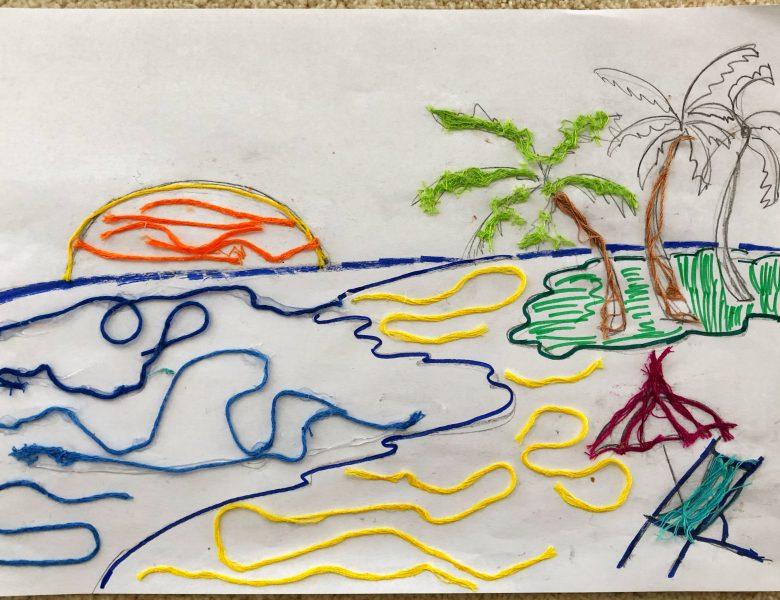 Desene decorate cu sfoară și ață colorată